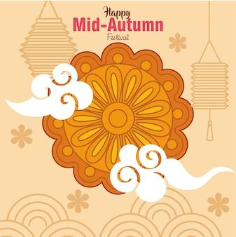 Festival chinês do meio do outono com bolo da lua e decoração