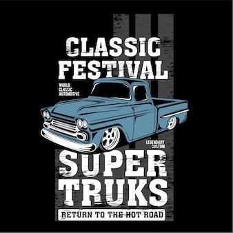 Festival clássico, ilustração de carro clássico