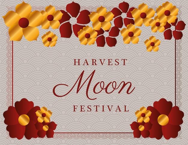 Festival da lua da colheita com flores vermelhas douradas e moldura vermelha