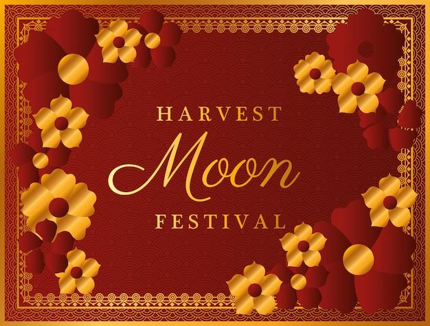 Festival da lua da colheita com flores vermelhas douradas e moldura