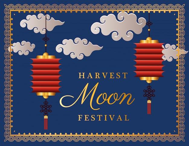 Festival da lua da colheita com nuvens de lanternas vermelhas e moldura