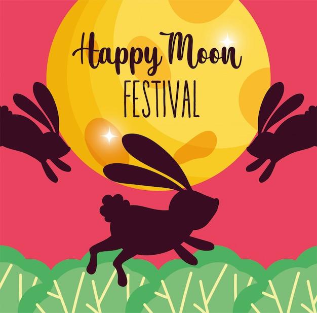 Festival da lua feliz coelho