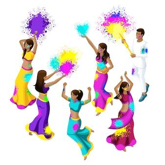 Festival da primavera, festival de cores, meninas e homens de mulheres indianas pulam, alegram-se, felicidade, jogam pó colorido, belos movimentos, vestidos de sari