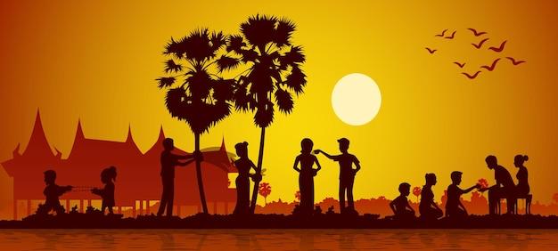 Festival da tailândia loas myanmar e camboja chamado song kran Vetor Premium