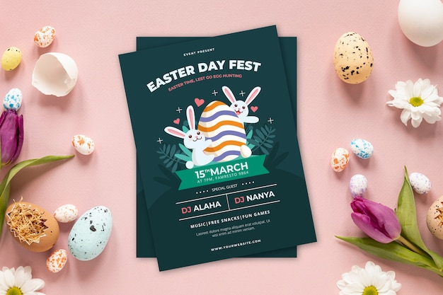 Festival de cartaz de festa de caça aos ovos de páscoa