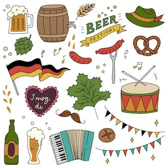 Festival de cerveja doodle conjunto