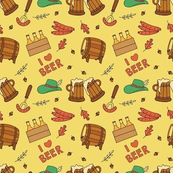 Festival de cerveja doodle fundo sem emenda