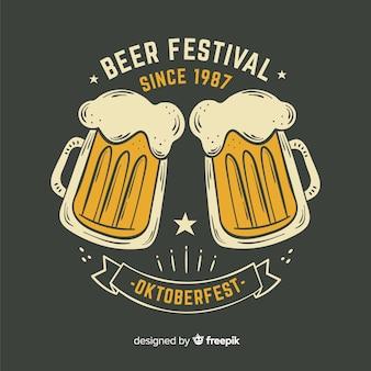 Festival de cerveja oktoberfest desenhada mão desde 1987