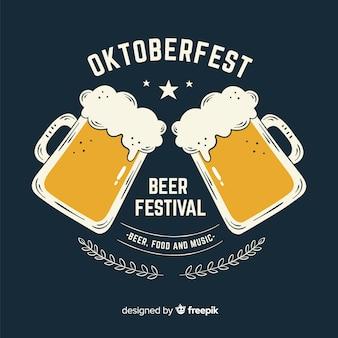 Festival de cerveja oktoberfest desenhada mão