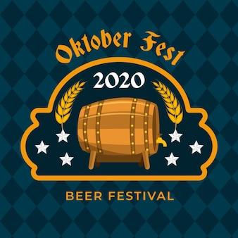 Festival de cerveja oktoberfest design plano com barril