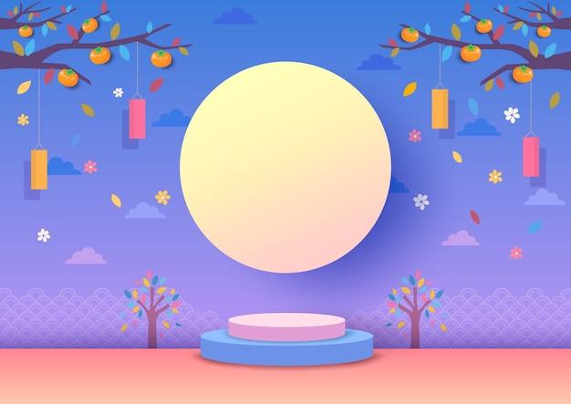 Festival de chuseok e meados do outono com fundo de lua cheia. Vetor Premium