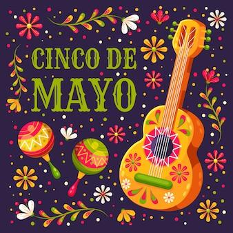 Festival de cinco de maio com guitarra floral