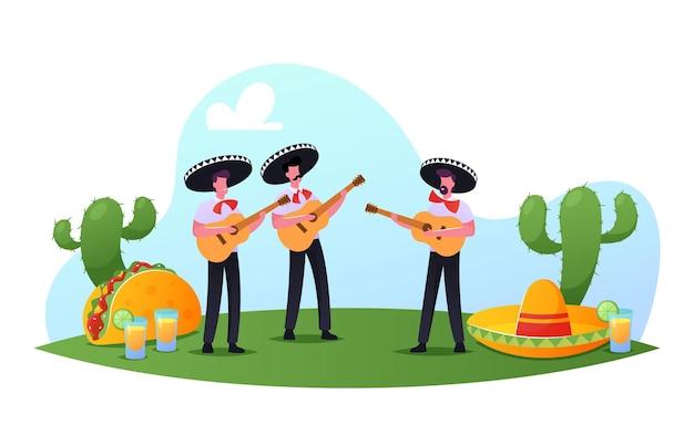 Festival de cinco de mayo, homens mexicanos em trajes coloridos e sombrero tocando guitarra, celebrando o feriado nacional da música folclórica. personagens de músicos do artista mariachi. ilustração em vetor desenho animado