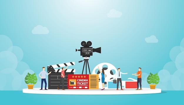 Festival de cinema de cinema com vários objetos de filme com discussão de pessoas com ilustração de estilo moderno