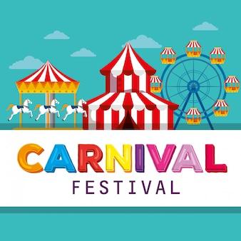 Festival de circo com carrossel e roda gigante Vetor Premium