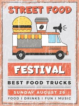 Festival de comida de rua. cozinha em carro móvel van ao ar livre restauração rápida poster vintage de vetor de entrega