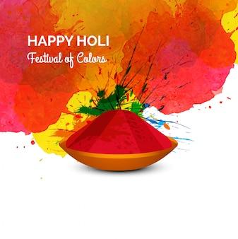 Festival de cores feliz holi celebração cartão