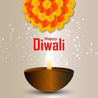 Festival de diwali da luz cartão comemorativo com diwali diya