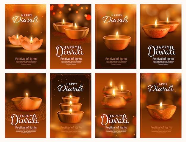 Festival de diwali de banners luminosos com lâmpadas diya. lâmpadas a óleo do feriado da religião hindu indiana com chamas de fogo, cartões comemorativos com decorações rangoli, padrão paisley e efeitos de luz bokeh