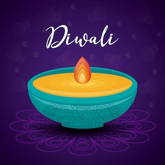 Festival de diwali de vela