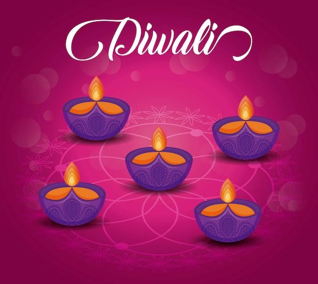 Festival de diwali de velas