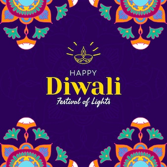 Festival de diwali de vetor de modelo social de luzes