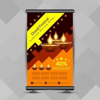 Festival de diwali design colorido stand banner roll-up