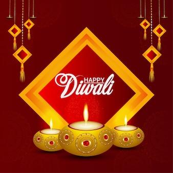 Festival de diwali feliz com celebração de velas