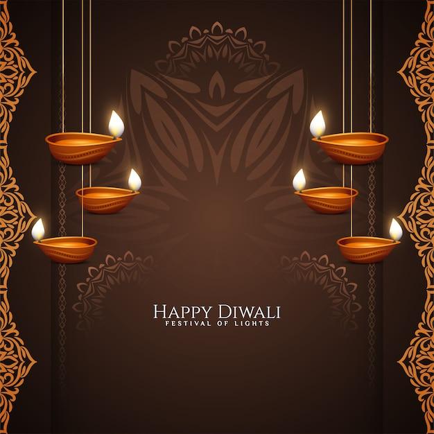 Festival de diwali feliz com diyas pendurados