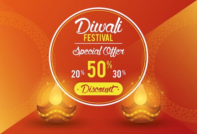 Festival de diwali indiano oferecer banner design