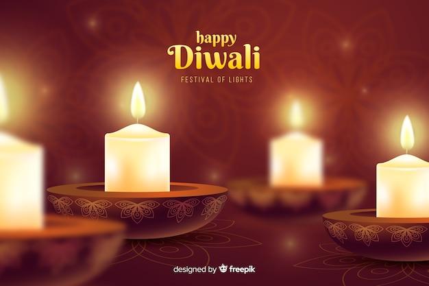 Festival de diwali velas fundo de celebração