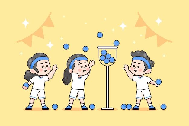 Festival de esportes desenhado à mão