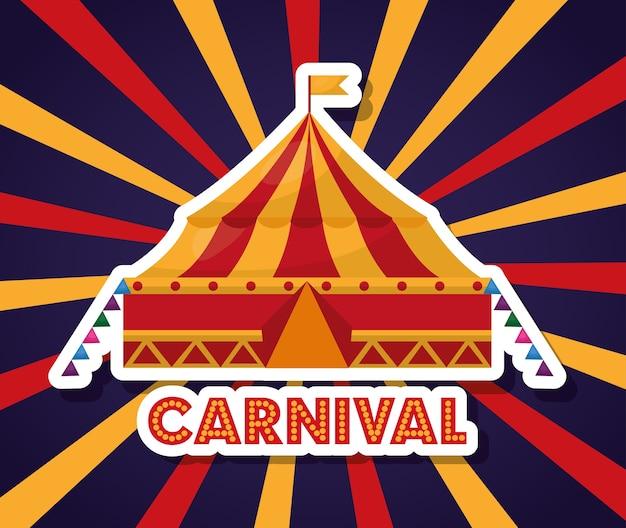 Festival de feira de carnaval justo em fundo starburst