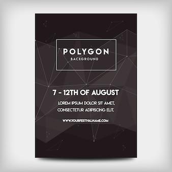 Festival de festa de cartaz de polígono escuro