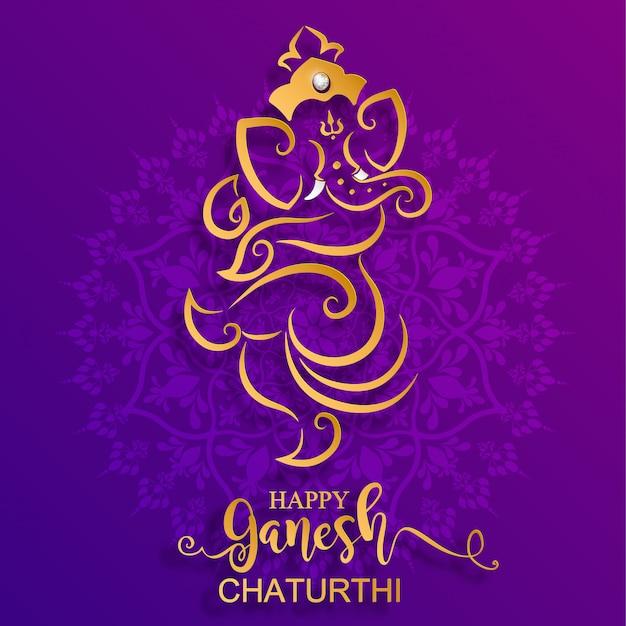 Festival de ganesh chaturthi com lord ganesha brilhante dourado modelado e cristais na cor de papel fundo.