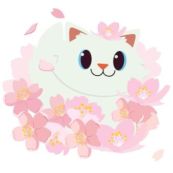 Festival de hanami. festival da flor de cerejeira. festival no japão. gato feliz está sorrindo