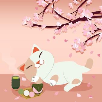 Festival de hanami. festival da flor de cerejeira. festival no japão. gato relaxante. gato dormindo