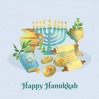 Festival de hanukkah em aquarela