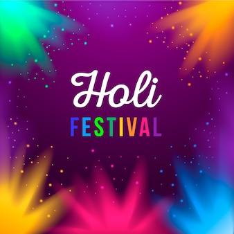 Festival de holi com escrita colorida arco-íris