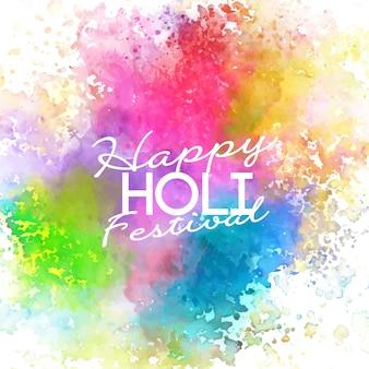 Festival de holi de cores vivas e pastel de aquarela