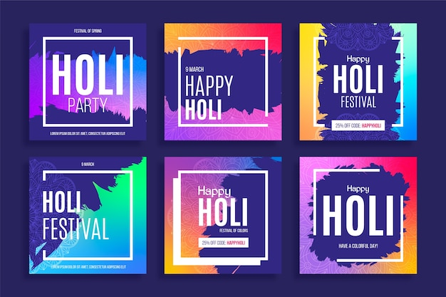 Festival de holi de mídia social com quadros coloridos