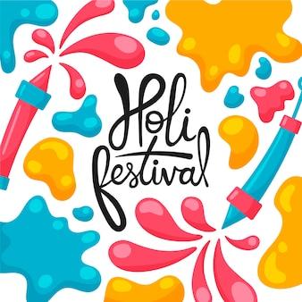 Festival de holi desenhado à mão