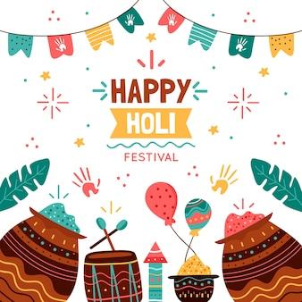 Festival de holi hindu desenhado à mão