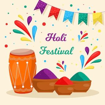 Festival de holi plana com guirlanda e cores