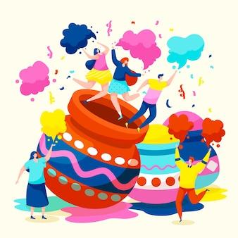 Festival de holi plana e pessoas jogando em cores