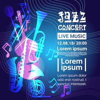 Festival de jazz live music concert poster banner de propaganda