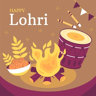 Festival de lohri desenhado à mão