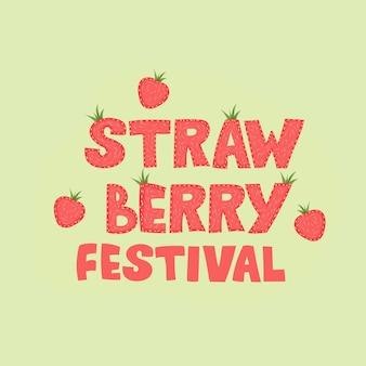 Festival de morango - desenho de banner de rotulação. ilustração.
