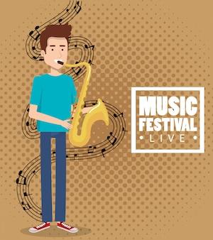 Festival de música ao vivo com homem tocando saxofone