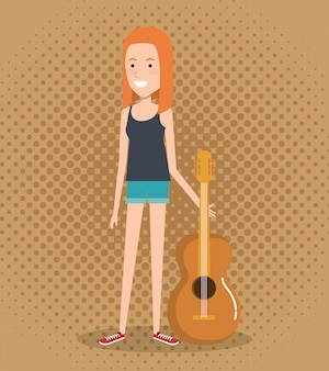 Festival de música ao vivo com mulher tocando violão
